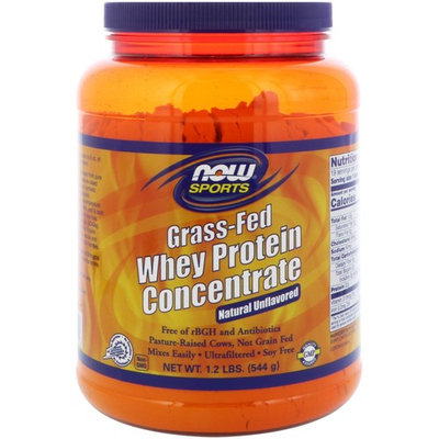 Now Foods, Grass-Fed Whey Protein Concentrate, Natural Unflavored, 1.2 lbs (544 g) [Flavor : Unflavored]