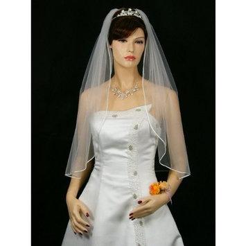 1T 1 Tier Sattin Rattail Cord Edge Bridal Wedding Veil - White Elbow Length 30