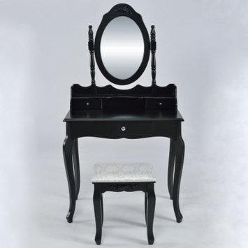 Belleze Vanity Set Vintage Style, Table Makeup Desk with Mirror and Stool Bedroom, Black