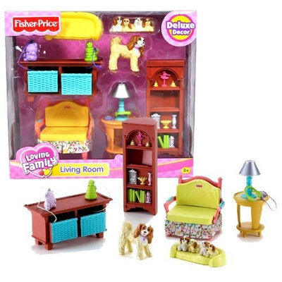 Fisher Price Year 2006 Loving Family Dollhouse Deluxe Decor Furniture Accessory Set - LIVING ROOM (K5318) with Sofa Chair, Toy Storage with 2 Drawers, Coffee Table with Lamp, Book Shelf, Cocker Spaniel Dog with Puppies and Dog Bed (Dollhouse Sold Separately)