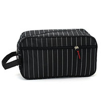 MYEDO Portable Travel Multifunction Striped Cosmetic Makeup Bag Toiletry Storage Bag (Black)