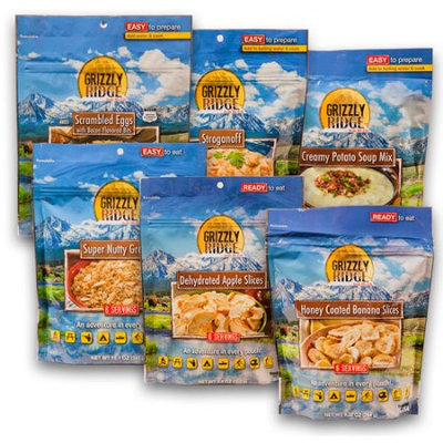 Grizzly Ridge 3-Day Camping Food Assortment, (Pack of 6)