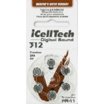 10 Packs (60 Batteries) I Cell Tech Size 312 Hearing Aid Batteries! 60 Batteries