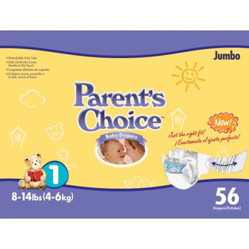 Wal-mart Stores, Inc. Parents Choice Jumbo Diapers Size 1/56ct