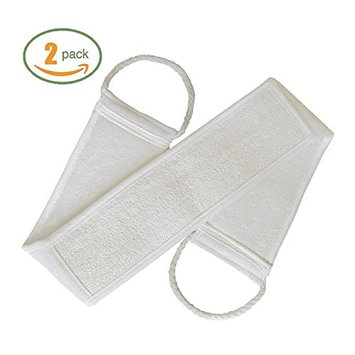 2 Packs Exfoliating Loofah Back Scrubber, Long Shower Bathtub Luffa Sponge with Soap Pocket, Body Sponge Scratcher with Natural Loufa, Reduce Back Acne/Exfoliate/Promote Circulation for Men and Women