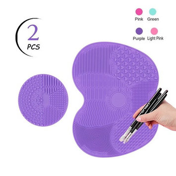 TailaiMei Makeup Brush Cleaning Mat,Set of 2 Silicone Cosmetic Washing Tool with Suction Cups