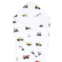100% Organic Muslin Hooded Bath Towel by ADDISON BELLE - Perfect For Baby & Toddler - Extra Big 33 inches x 33 inches - Premium Terry Cloth Interior - Best Baby Shower Gift (Construction Trucks)