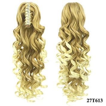Women Long Curly Wavy Claw Clip on Ponytail Masquerade Party Girls Heat Resistant Synthetic Fiber Pigtail Natural Color Hair Extensions 60 cm