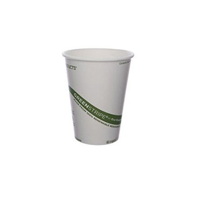 Eco Products EPBHC12GSCS EcoProducts 12 oz Compostable Hot Cup in GreenStripe Design#44; 1000 units per case.