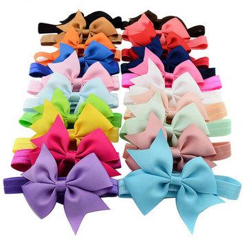 Coxeer 20Pcs Baby Girls Grosgrain Ribbon Hair Bows Dacron Clips Fashion Headbands Hair Accessories for Kids Teen Girls Women (Colorful)
