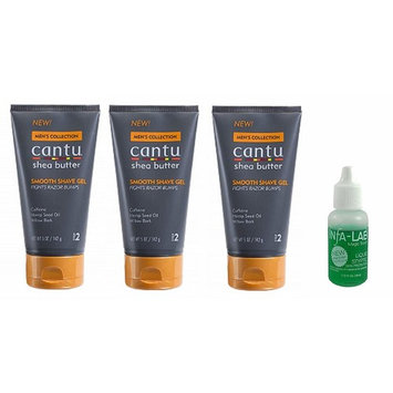 Cantu Shea Butter Men's Collection Smooth Shave Gel, 5 Ounce (3PCS) With INFA-LAB Liquid Styptic