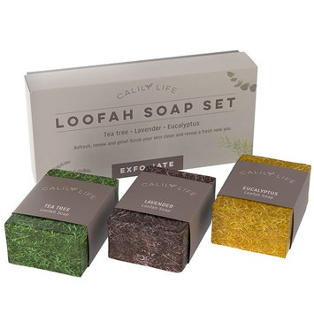 Calily Life Natural Luffa Soap Set Exfoliating Moisturizing Shower and Bath Soap Loofah Body Scrub Exfoliator – Lavender, Eucalyptus and Tea Tree Essential Oil Infused Soap with Natural Luffah sponge