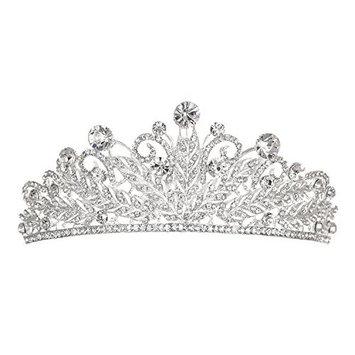 Bridal Floral Rhinestones Crystal Prom Wedding Hair Comb Tiara T1065 by Venus Jewelry