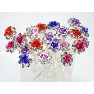 Shop Ginger Wedding Pack Of 20 Rose Crystal Rhinestones Flower Hair Pins Bridal Veil
