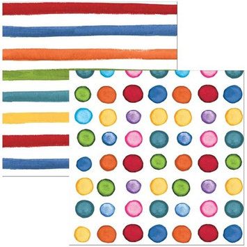 Hoffmaster Group 656531 Elise Rainbow Dots & Stripes 3 Ply Beverage Napkins - 24 per Case - Case of 12