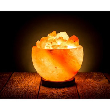 Hand Crafted HemingWeigh Rock Salt Bowl Lamp with Salt Chips, Wood Base, Electric wire Bulb