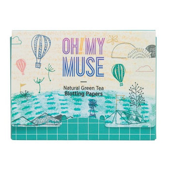 [Oh!My Muse] Natural Green Tea Oil Absorbing Sheets, Blotting Paper, 50 count (1 Pack) : Beauty