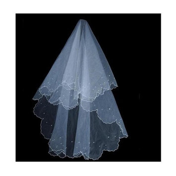 HuaYang Single Tier Wedding Bridal Veil with imitated pearls decoration(White) by HuaYang