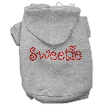 Mirage Pet Products 5478 MDGY Sweetie Rhinestone Hoodies Grey M 12