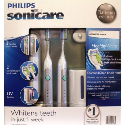 Philips Sonicare HX6733/90 HealthyWhite 3 Mode Platinum Edition Rechargeable Toothbrush 2-Pack Bundle (2 Power Toothbrushes, 2 DiamondClean Brush Heads, 1 UV Sanitizer with Integrated Charger, 1 Travel charger, 2 Travel cases)