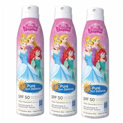 Disney Princess, Pure Sun Defense, SPF 50, For Sensitive Skin, Broad Spectrum, 6 oz (3 Pack) + Scunci Black Roller Pins, 18 Pcs
