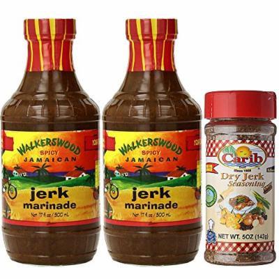 Walkerswood Spicy Jamaican Jerk Marinade 17oz and Carib Dry Jerk Seasoning 5oz (Pack of 3)