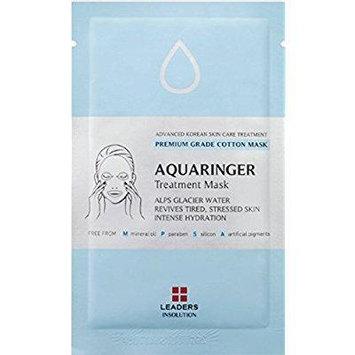 [leaders] aquaringer treatment mask / premium grade cotton mask / alps glacier water - revives tired, stressed skin - intense hydration / 1 sheet mask