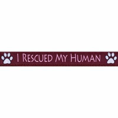 Country Brook Design® 3/4 Inch I Rescued My Human Ribbon Dog Leash - 2 Foot