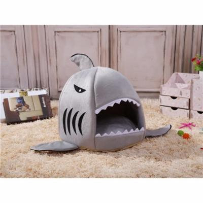 Lovely Shark Mouth Pet Dog Cat Bed Washable Removable Soft Sponge Warm Sleeping Houses Doggy Kennel Size - M (Grey)