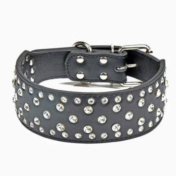 20-24 Inch Crystal Rhinestone PU Leather Dog Collar 4 Colors 3 Sizes Pet Collar - Black M (5*56CM)
