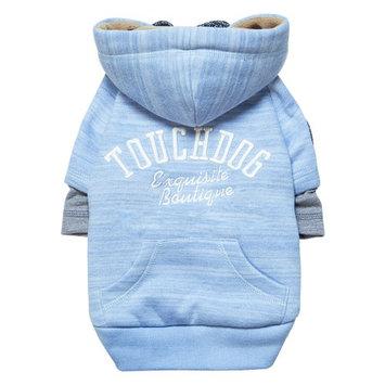 Touchdog Hampton Beach Designer Sand-Blasted Cotton Dog Hoodie Sweater Blue