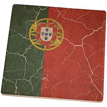 Old Glory Distressed Portuguese Flag Square Sandstone Coaster