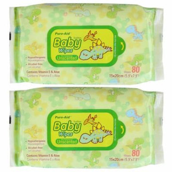 Pure-Aid Unscented Baby Wipes-80ct (2 Pack)