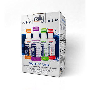 Rally Naturally Flavored Electrolyte Rehydration Beverage, Variety Pack, 20 Ounces (Pack of 4)