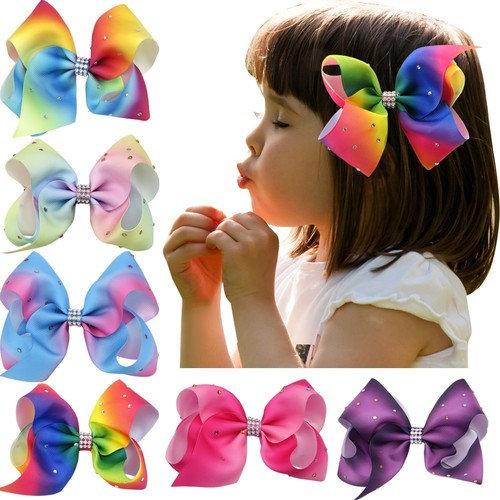 "Nancyus005 6pcs 4.5"" Rainbow Hair Bow Rhinestone Boutique Hair Bow with Alligator Clips"