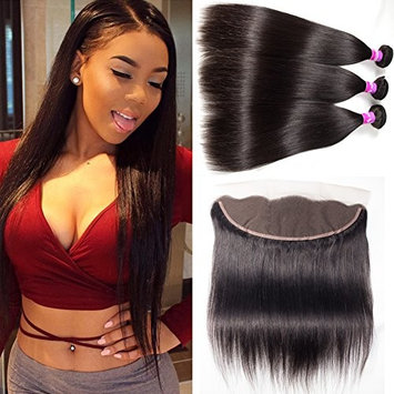 RECOOL Brazilian Hair Straight Bundles With Closure Ear to Ear Lace Closure and Bundles Virgin Human Hair Extensions Weaves Natural Color For Black Women