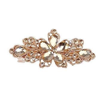 Sanwood Women Fashion Flower Leaf Crystal Rhinestone Hair Barrette Clip Hairpin