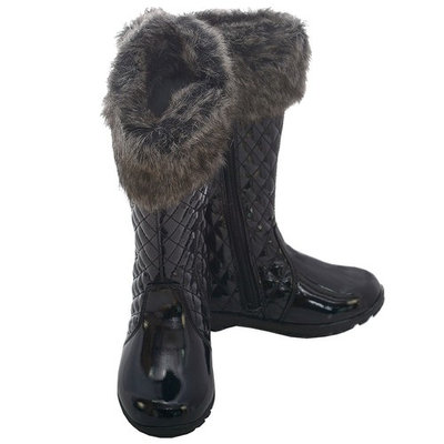L'Amour Black Quilted Patent Faux Fur Fashion Boot Toddler Girl 7-10
