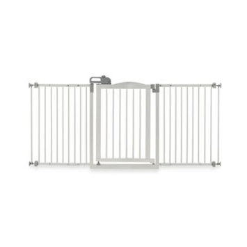 Richell Wide Wood Pet Gate with Touch Latch White