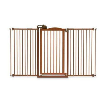 Richell Tall One Touch Pet Gate II Brown, Size: Wide