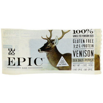 Epic Bar, Venison Sea Salt + Pepper Bar, 12 Bars, 1.5 oz (43 g) Each [Flavor : Salt & Pepper]