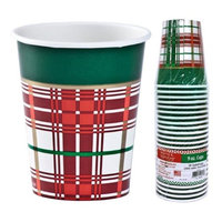 Hanna K Signature 2184904 9 oz Christmas Plaid Paper Hot-Cold Cup - Pack of 36 & 24 per Pack