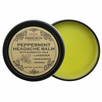 Svasthya Peppermint Headache Balm All Natural Headache & Migraine Relief, Sinus Headache, Stress Relief, Aromatherapy, Non GMO, Cruelty Free, 2 oz