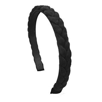 Black 1/2 Inch Plait Braided Hard Headband Hair Bands (Motique Accessories)