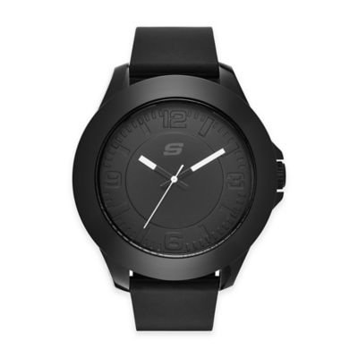 Skechers Men's 50mm Watch in Black Plastic w/ Black Polyurethane Strap