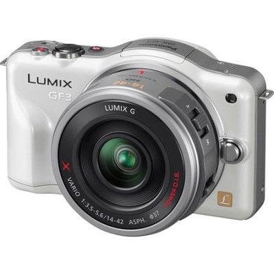 Panasonic Lumix DMC-GF3 12.1 Megapixel Mirrorless Camera (Body with Lens Kit) - 14mm - 42mm - White - 3 Touchscreen LCD - 3x Optical Zoom - Optical (IS) - 4000 x 3000 Image - 1920 x 1080 Video - HDMI - PictBridge - HD Movie Mode