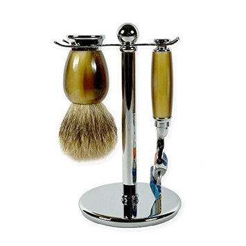 3 piece Horn Imitation shaving set with Silver-tip brush and Fusion Razor handle