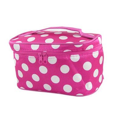 Unique Bargains Women Two Way Zip Polka Dots Cosmetic Makeup Hand Bag Fuchsia