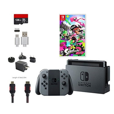 Nintendo Switch Bundle (6 items): 32GB Console Gray Joy-con, Game Disc Splatoon 2, 128GB Micro SD Card, Type C Cable, HDMI Cable Wall Charger