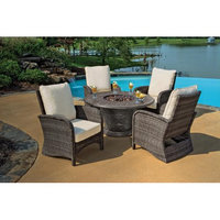 Northlight 5-Piece Portico Wicker Patio Chair and Cast Aluminum Gas Fire Pit Outdoor Furniture Set - Beige Cushions